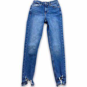 Topshop Hi Rise Jaime Destructed Hem skinny Jeans